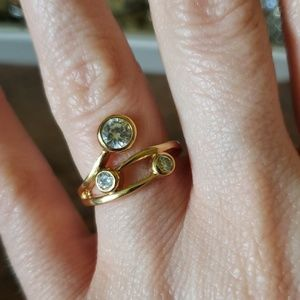 Dainty CZ Gold Tone Costume Jewelry Ring